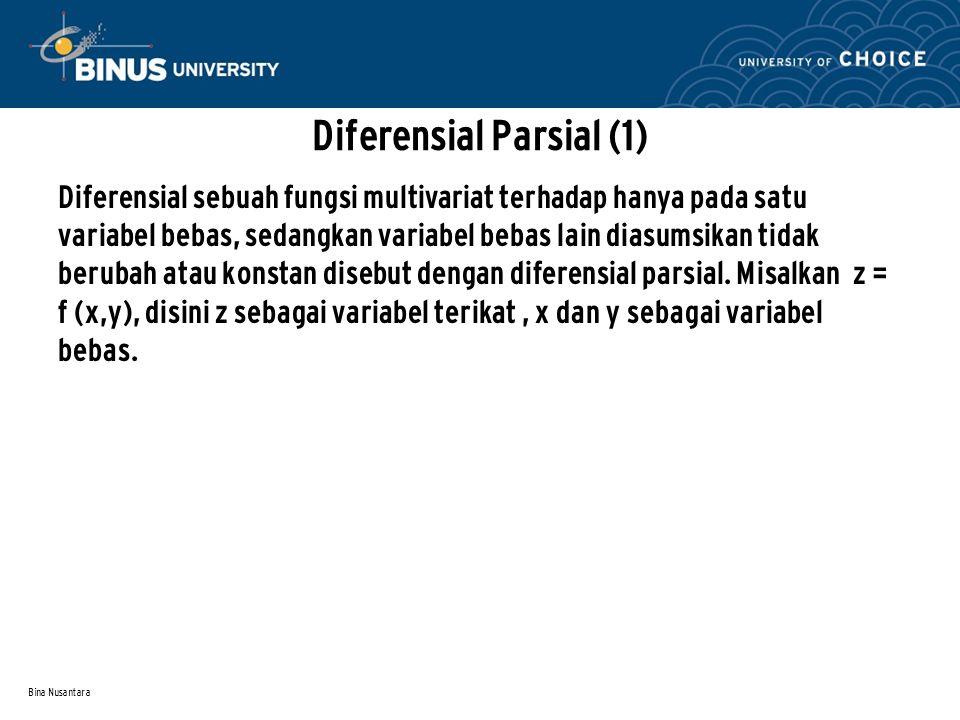 Bina Nusantara Diferensial Parsial (2) Apabila y dianggap tetap, z merupakan fungsi yang tergantung hanya pada x, oleh karena itu turunan parsial z terhadap x dapat ditentukan dan dilambangkan sebagai