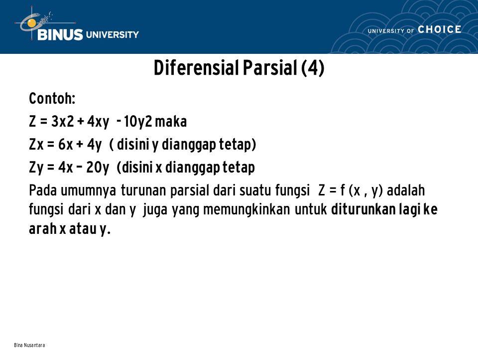 Bina Nusantara Diferensial Parsial (4) Contoh: Z = 3x2 + 4xy - 10y2 maka Zx = 6x + 4y ( disini y dianggap tetap) Zy = 4x – 20y (disini x dianggap teta