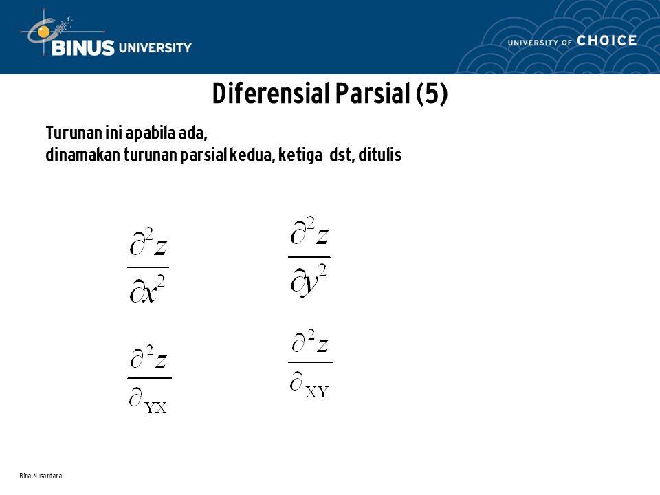 Bina Nusantara Contoh : Z = x4 - 4x2y + 8xy3 – y2 maka Zx = 4x3 – 8xy + 8y3 Zxx = 12x2 – 8y Zxy = - 8x + 24y2 Zy = -4x2 + 24 xy2 – 2y Zyy = 48 xy - 2 Zyx = -8x + 24 y2 Diferensial Parsial (6)