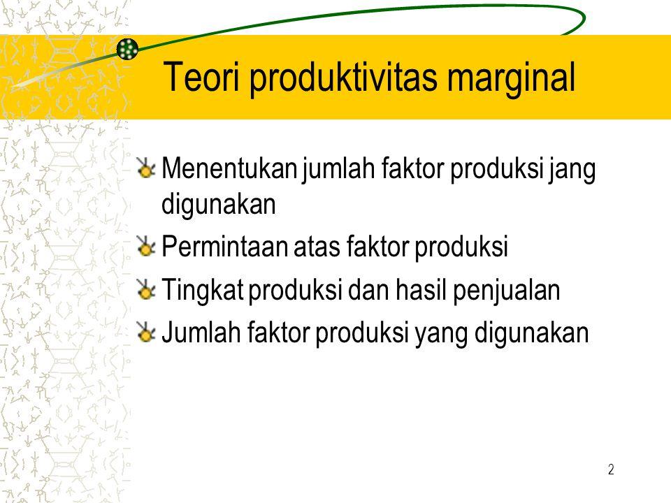 2 Teori produktivitas marginal Menentukan jumlah faktor produksi jang digunakan Permintaan atas faktor produksi Tingkat produksi dan hasil penjualan Jumlah faktor produksi yang digunakan