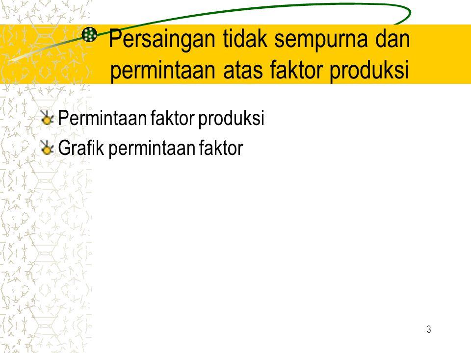 3 Persaingan tidak sempurna dan permintaan atas faktor produksi Permintaan faktor produksi Grafik permintaan faktor