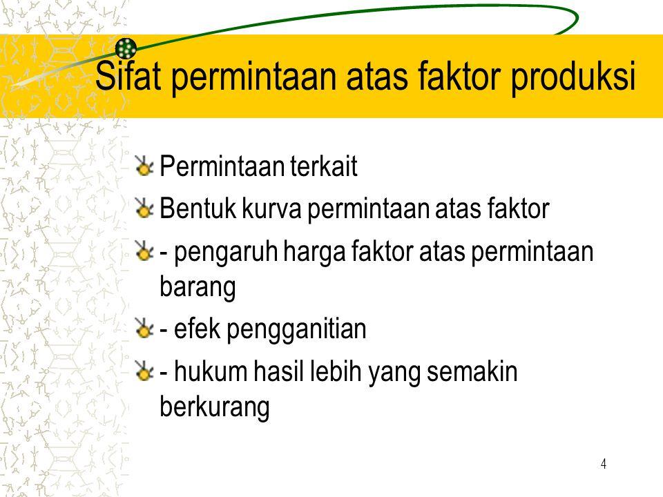 4 Sifat permintaan atas faktor produksi Permintaan terkait Bentuk kurva permintaan atas faktor - pengaruh harga faktor atas permintaan barang - efek pengganitian - hukum hasil lebih yang semakin berkurang