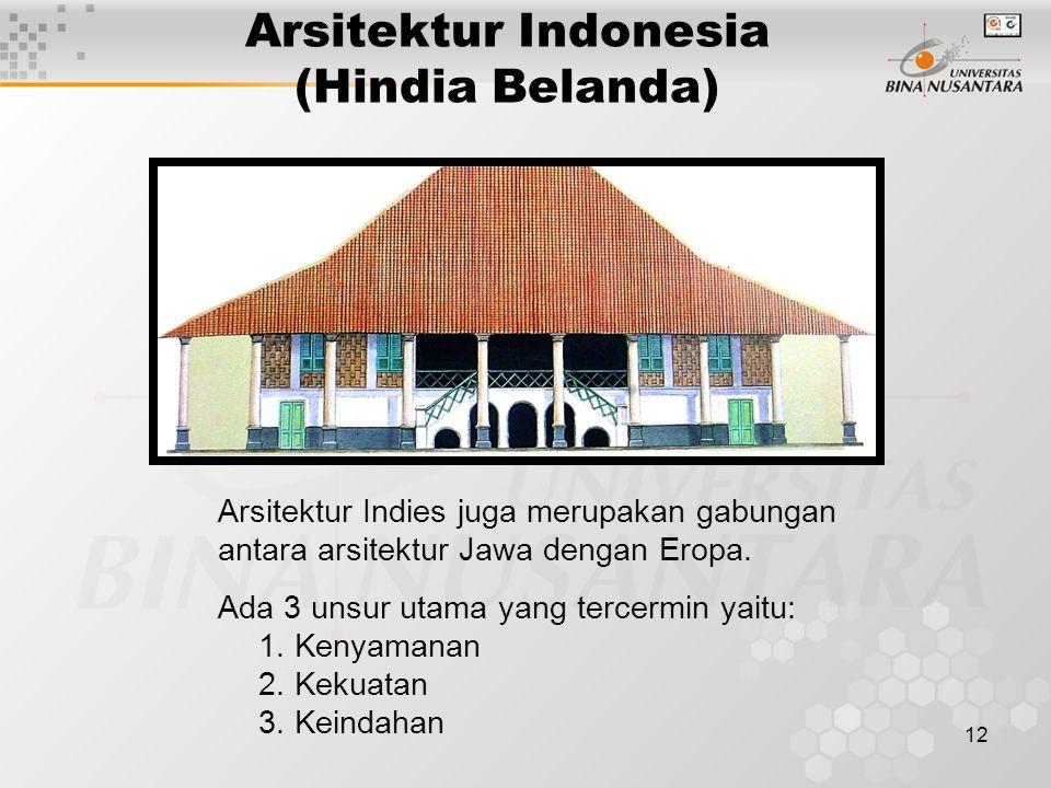 12 Arsitektur Indonesia (Hindia Belanda) Arsitektur Indies juga merupakan gabungan antara arsitektur Jawa dengan Eropa.
