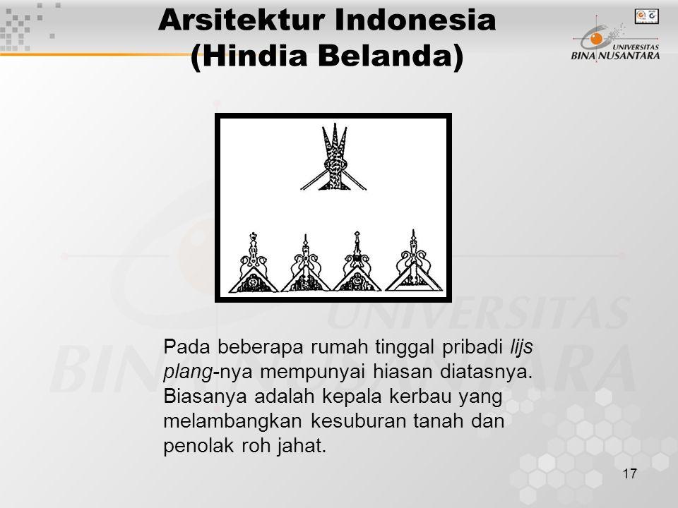 17 Arsitektur Indonesia (Hindia Belanda) Pada beberapa rumah tinggal pribadi lijs plang-nya mempunyai hiasan diatasnya.