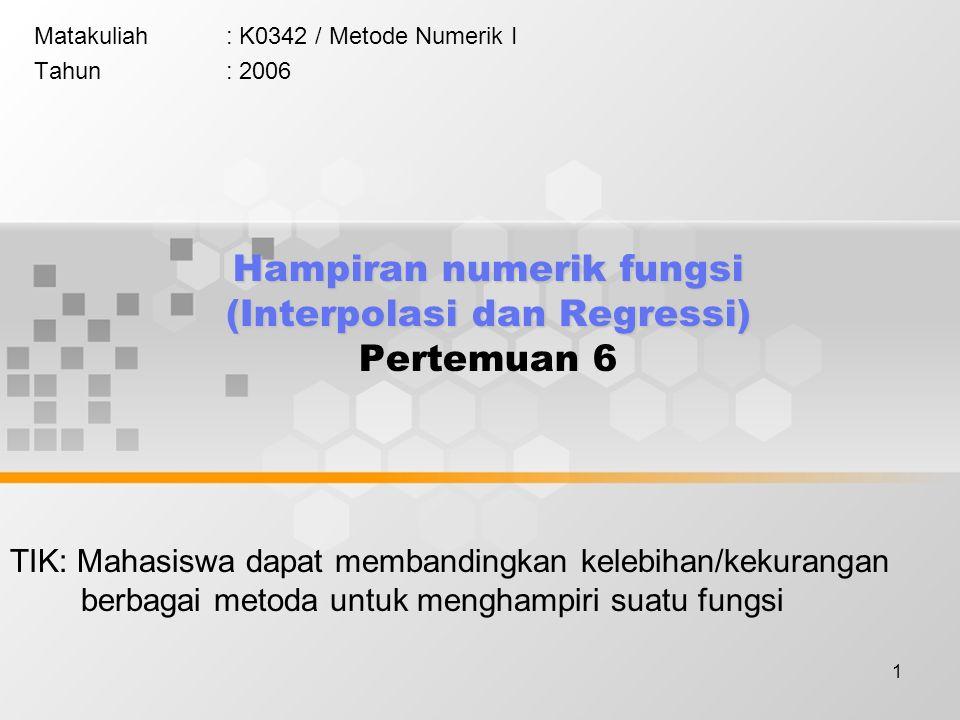 1 Hampiran numerik fungsi (Interpolasi dan Regressi) Hampiran numerik fungsi (Interpolasi dan Regressi) Pertemuan 6 Matakuliah: K0342 / Metode Numerik I Tahun: 2006 TIK: Mahasiswa dapat membandingkan kelebihan/kekurangan berbagai metoda untuk menghampiri suatu fungsi