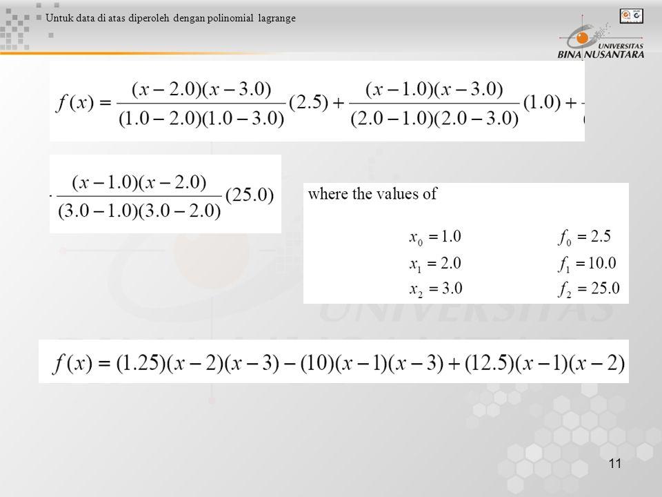 11 Untuk data di atas diperoleh dengan polinomial lagrange