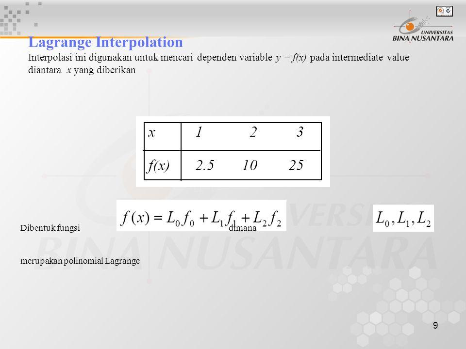 9 Lagrange Interpolation Interpolasi ini digunakan untuk mencari dependen variable y = f(x) pada intermediate value diantara x yang diberikan Dibentuk fungsi dimana merupakan polinomial Lagrange