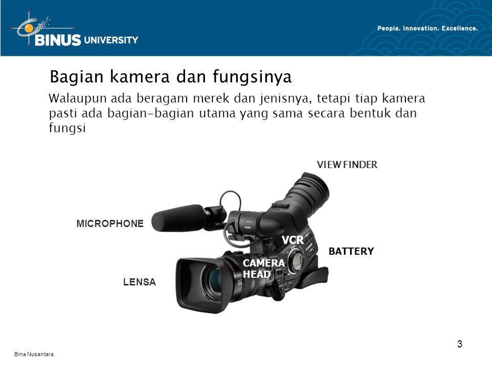 Bina Nusantara Bagian kamera dan fungsinya Walaupun ada beragam merek dan jenisnya, tetapi tiap kamera pasti ada bagian-bagian utama yang sama secara bentuk dan fungsi 3 MICROPHONE VCR CAMERA HEAD BATTERY VIEW FINDER LENSA