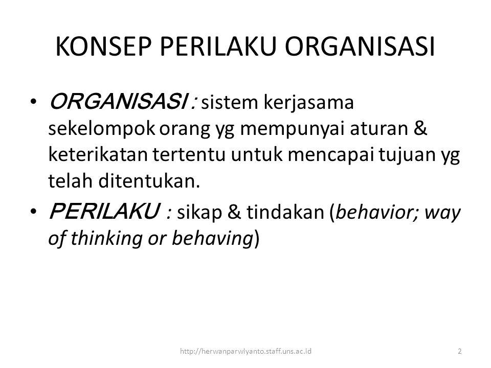 KONSEP PERILAKU ORGANISASI ORGANISASI : sistem kerjasama sekelompok orang yg mempunyai aturan & keterikatan tertentu untuk mencapai tujuan yg telah ditentukan.