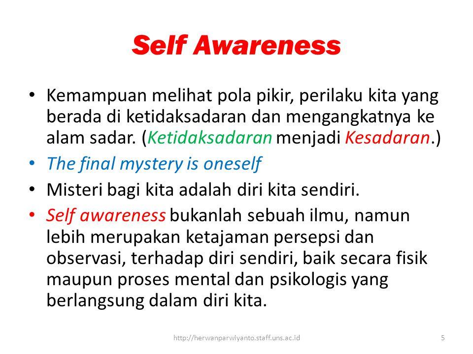 Self Awareness Kemampuan melihat pola pikir, perilaku kita yang berada di ketidaksadaran dan mengangkatnya ke alam sadar.