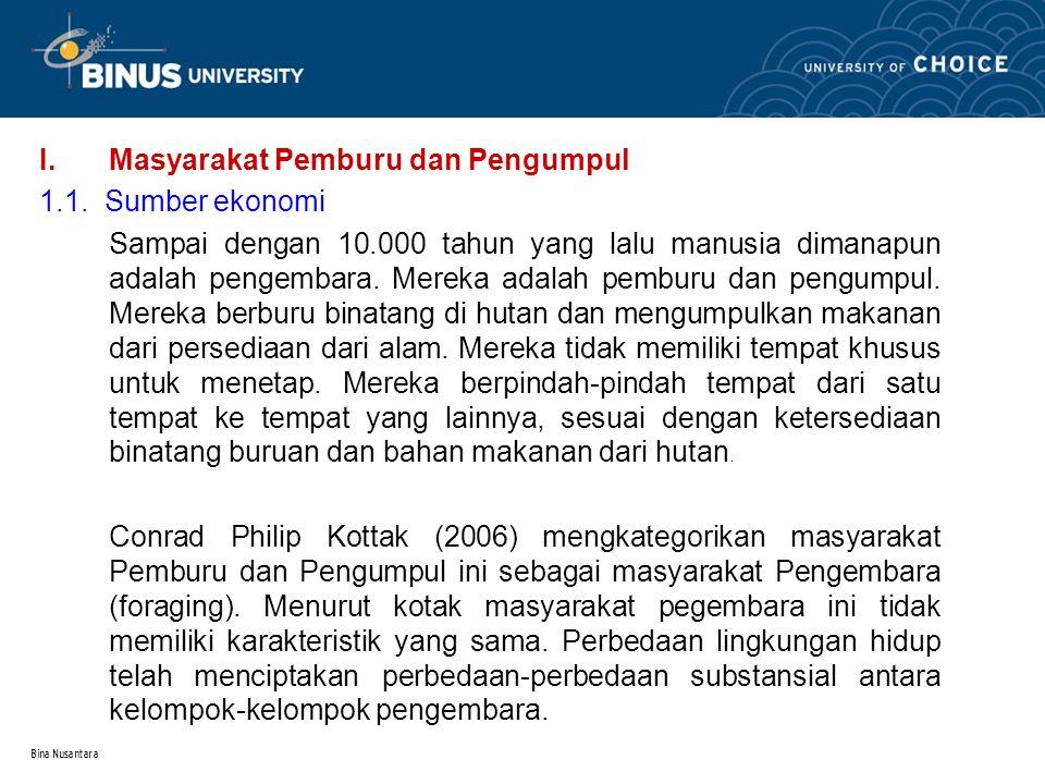 Bina Nusantara I.Masyarakat Pemburu dan Pengumpul 1.1. Sumber ekonomi Sampai dengan 10.000 tahun yang lalu manusia dimanapun adalah pengembara. Mereka