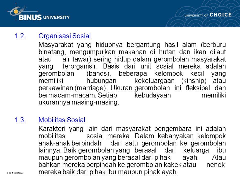 Bina Nusantara 1.2. Organisasi Sosial Masyarakat yang hidupnya bergantung hasil alam (berburu binatang, mengumpulkan makanan di hutan dan ikan dilaut