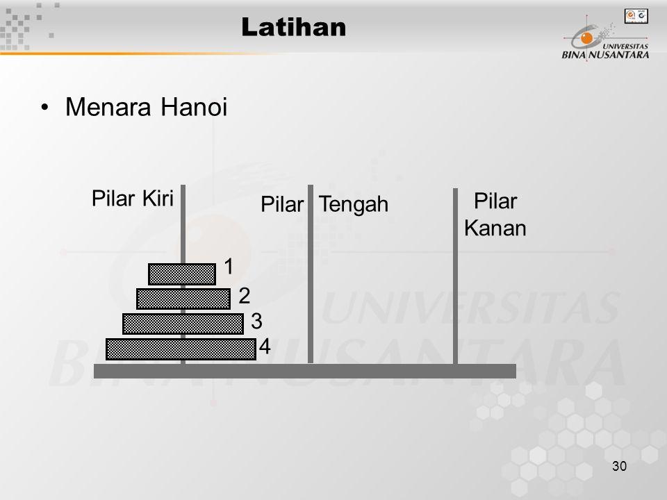 30 Latihan Menara Hanoi 1 2 3 4 Pilar Kiri Pilar Kanan Pilar Tengah