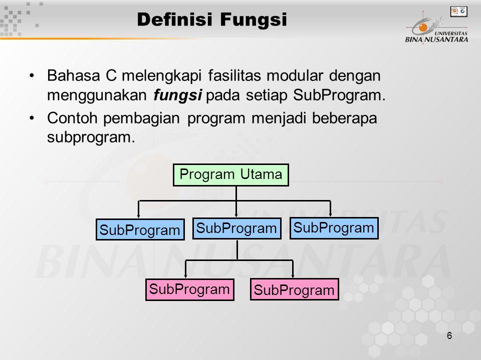6 Definisi Fungsi Bahasa C melengkapi fasilitas modular dengan menggunakan fungsi pada setiap SubProgram.