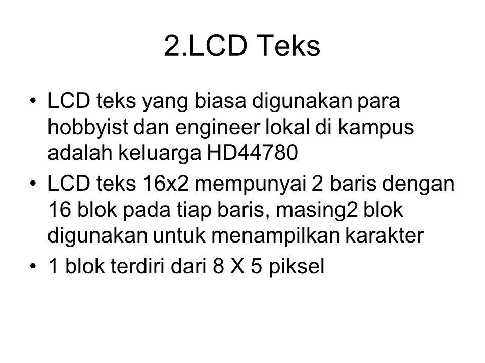 2.LCD Teks LCD teks yang biasa digunakan para hobbyist dan engineer lokal di kampus adalah keluarga HD44780 LCD teks 16x2 mempunyai 2 baris dengan 16