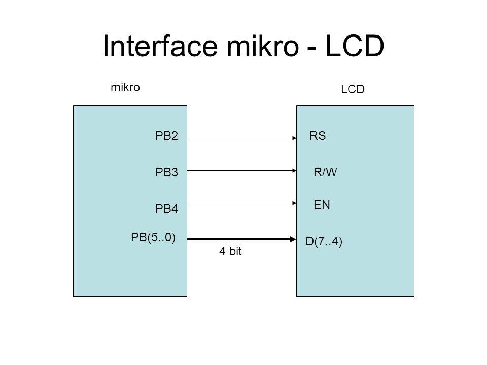 Interface mikro - LCD mikro LCD PB(5..0) D(7..4) PB4 PB3 PB2RS R/W EN 4 bit