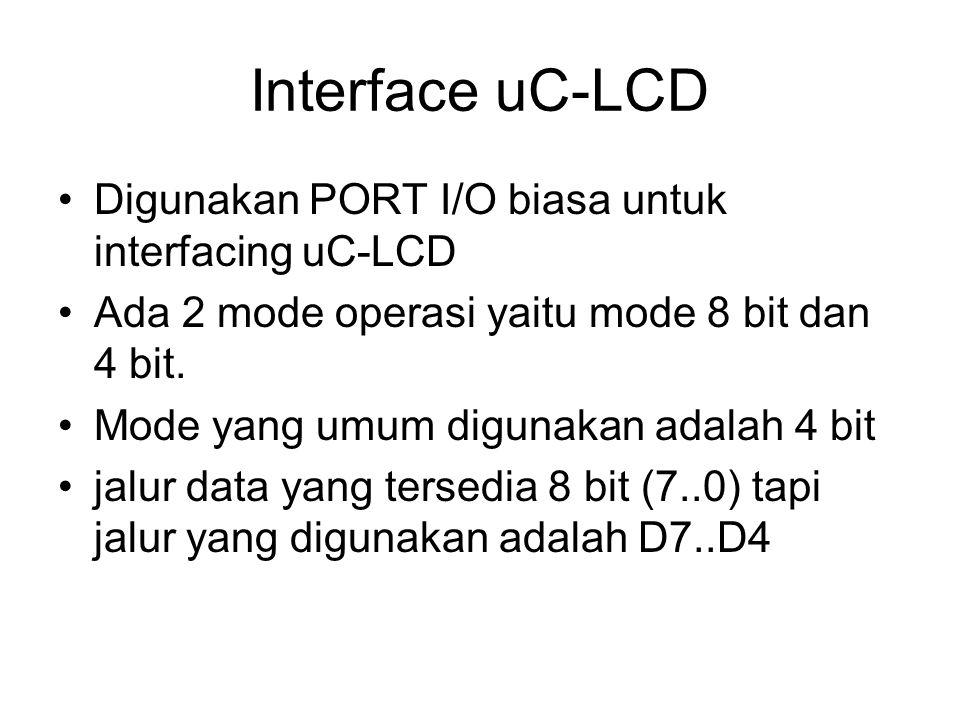 Interface uC-LCD Digunakan PORT I/O biasa untuk interfacing uC-LCD Ada 2 mode operasi yaitu mode 8 bit dan 4 bit. Mode yang umum digunakan adalah 4 bi