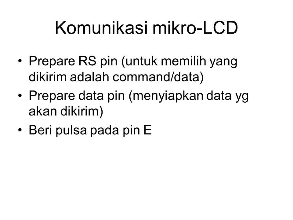 Komunikasi mikro-LCD Prepare RS pin (untuk memilih yang dikirim adalah command/data) Prepare data pin (menyiapkan data yg akan dikirim) Beri pulsa pad