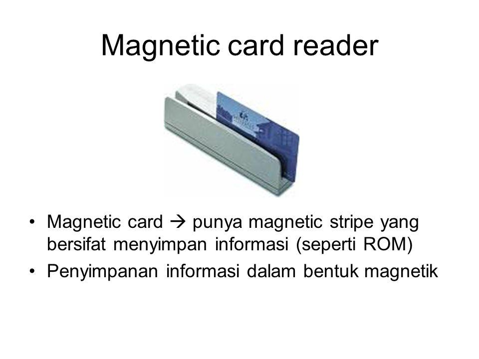 Smart Card Istilah khusus untuk kartu dengan penyimpanan data berupa sel memori flash Memori bisa dibaca tulis tetapi non volatile (seperti MMC tetapi data terbatas) Ada 2 jenis : contact dan contactless