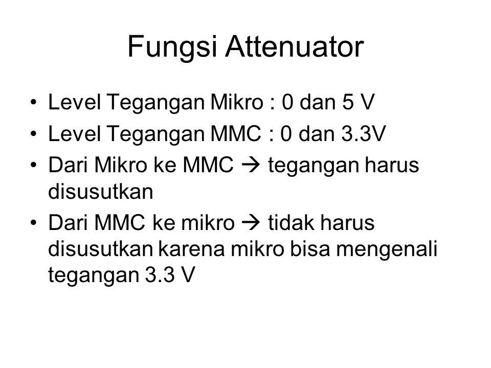 Fungsi Attenuator Level Tegangan Mikro : 0 dan 5 V Level Tegangan MMC : 0 dan 3.3V Dari Mikro ke MMC  tegangan harus disusutkan Dari MMC ke mikro  t