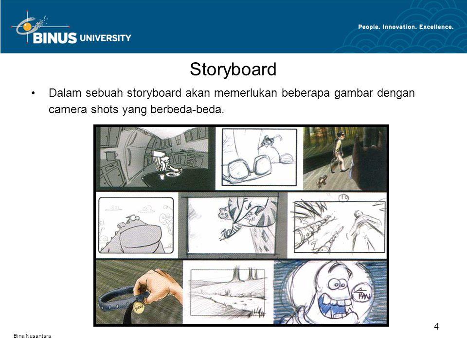 Bina Nusantara Dalam sebuah storyboard akan memerlukan beberapa gambar dengan camera shots yang berbeda-beda.