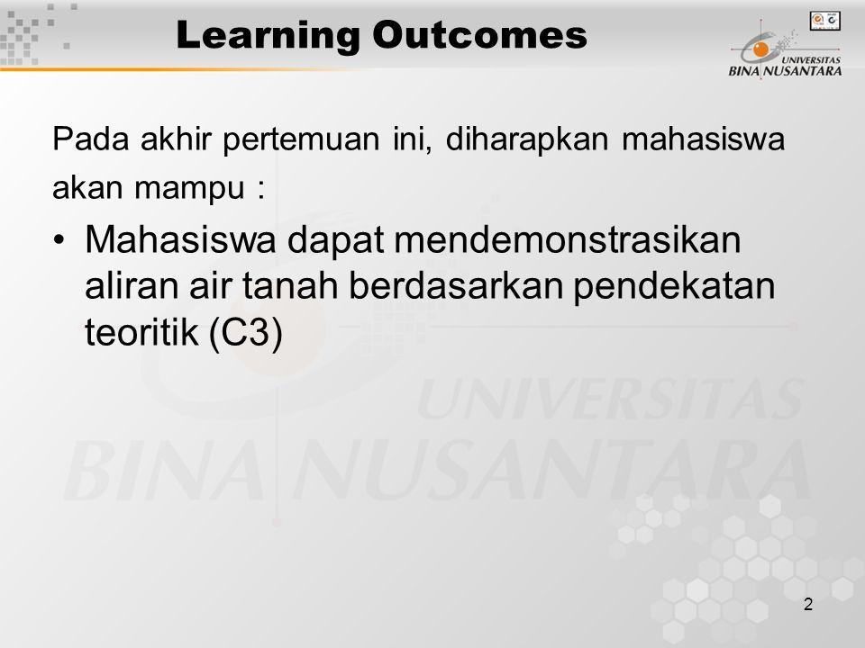2 Learning Outcomes Pada akhir pertemuan ini, diharapkan mahasiswa akan mampu : Mahasiswa dapat mendemonstrasikan aliran air tanah berdasarkan pendeka