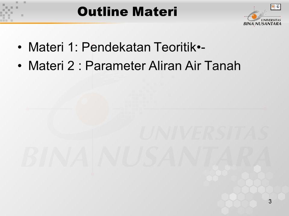 3 Outline Materi Materi 1: Pendekatan Teoritik- Materi 2 : Parameter Aliran Air Tanah