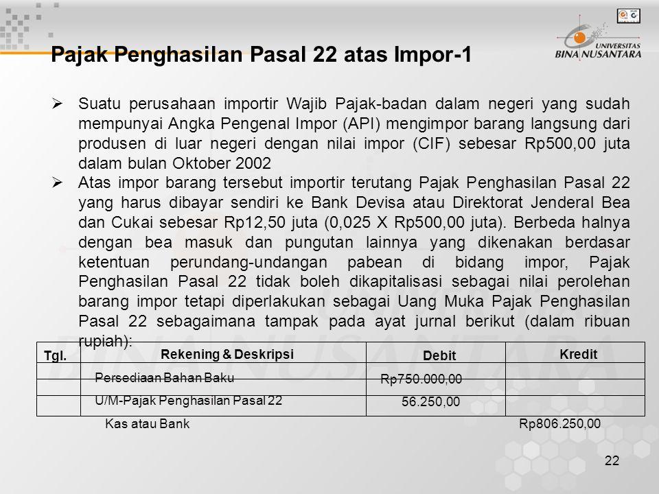 22 Pajak Penghasilan Pasal 22 atas Impor-1  Suatu perusahaan importir Wajib Pajak-badan dalam negeri yang sudah mempunyai Angka Pengenal Impor (API)