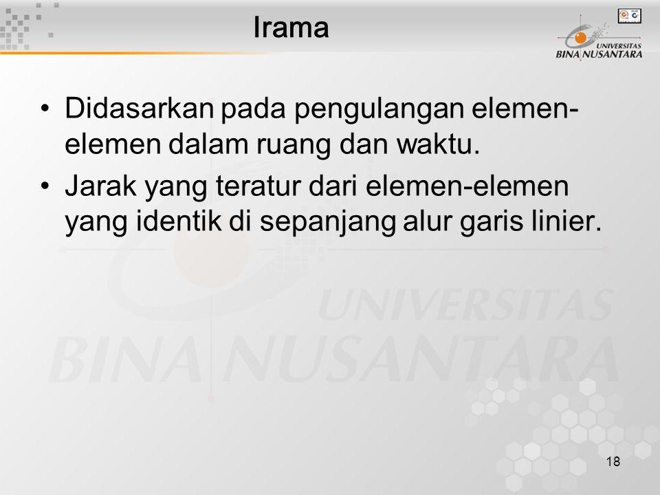 18 Irama Didasarkan pada pengulangan elemen- elemen dalam ruang dan waktu.