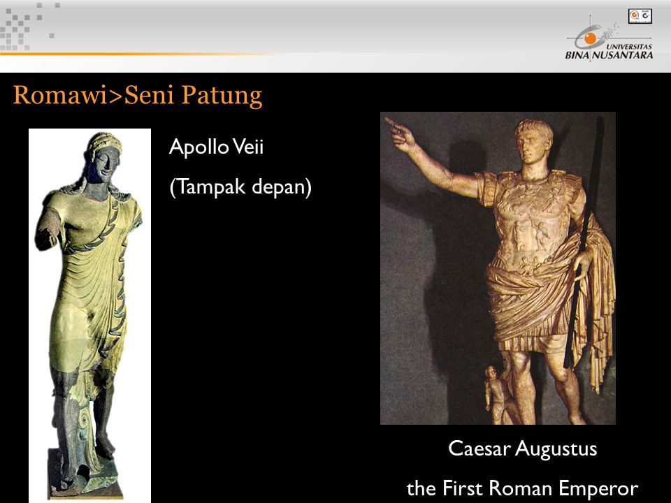 3 Romawi>Seni Patung Caesar Augustus the First Roman Emperor Apollo Veii (Tampak depan)