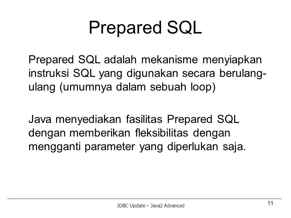11 Prepared SQL Prepared SQL adalah mekanisme menyiapkan instruksi SQL yang digunakan secara berulang- ulang (umumnya dalam sebuah loop) Java menyediakan fasilitas Prepared SQL dengan memberikan fleksibilitas dengan mengganti parameter yang diperlukan saja.