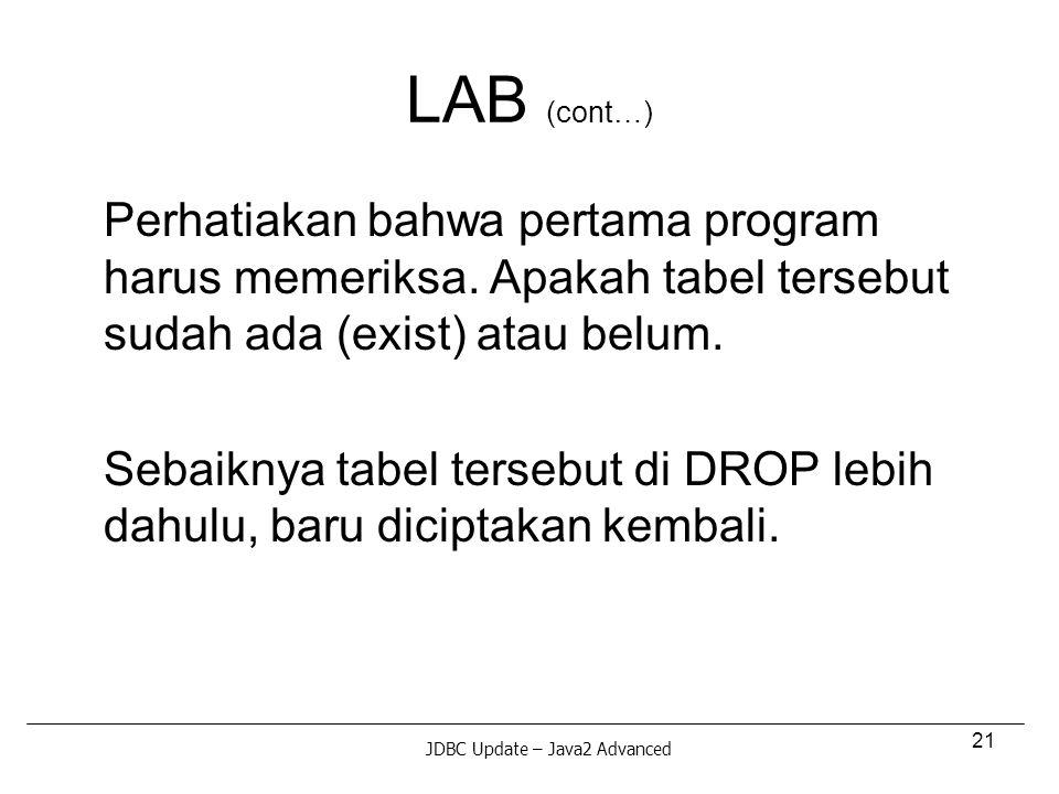 21 LAB (cont…) Perhatiakan bahwa pertama program harus memeriksa.