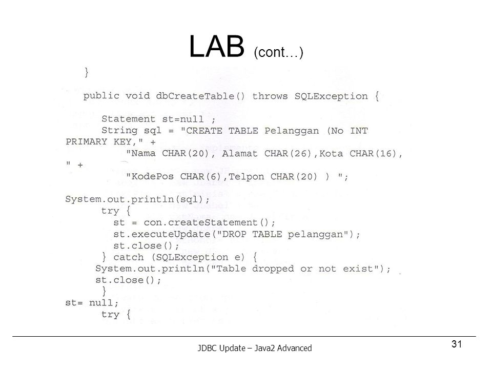31 LAB (cont…) JDBC Update – Java2 Advanced