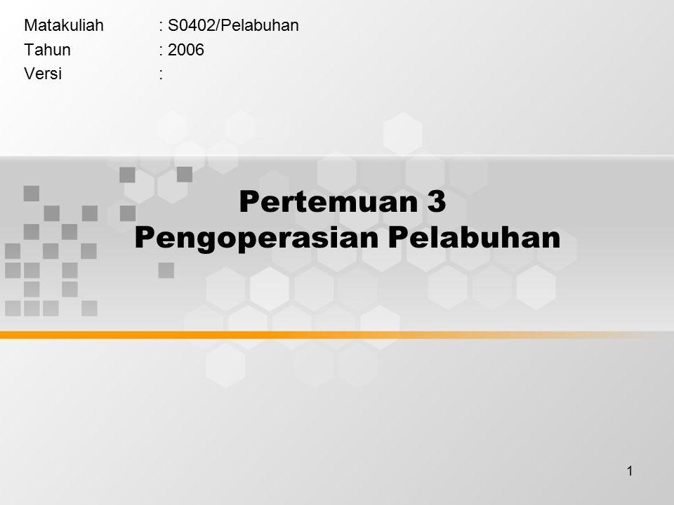 1 Pertemuan 3 Pengoperasian Pelabuhan Matakuliah: S0402/Pelabuhan Tahun: 2006 Versi: