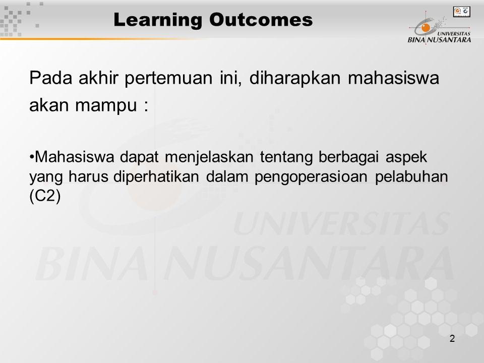 2 Learning Outcomes Pada akhir pertemuan ini, diharapkan mahasiswa akan mampu : Mahasiswa dapat menjelaskan tentang berbagai aspek yang harus diperhat