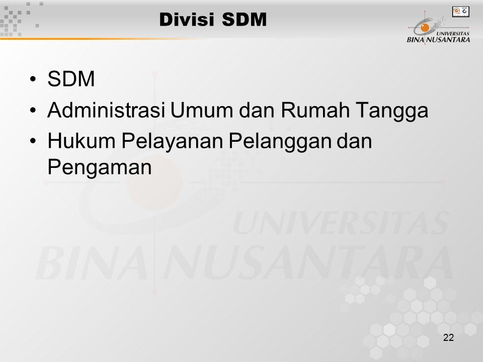 22 Divisi SDM SDM Administrasi Umum dan Rumah Tangga Hukum Pelayanan Pelanggan dan Pengaman