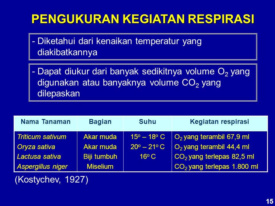 PENGUKURAN KEGIATAN RESPIRASI - Diketahui dari kenaikan temperatur yang diakibatkannya - Dapat diukur dari banyak sedikitnya volume O 2 yang digunakan