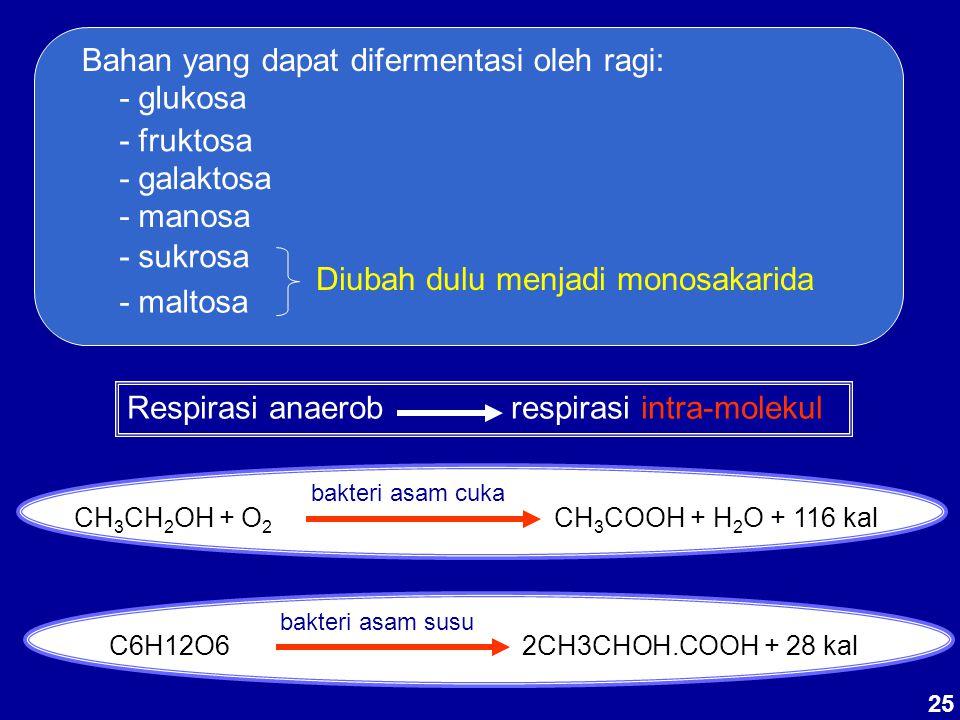 Bahan yang dapat difermentasi oleh ragi: - glukosa - fruktosa - galaktosa - manosa - sukrosa - maltosa Diubah dulu menjadi monosakarida Respirasi anae