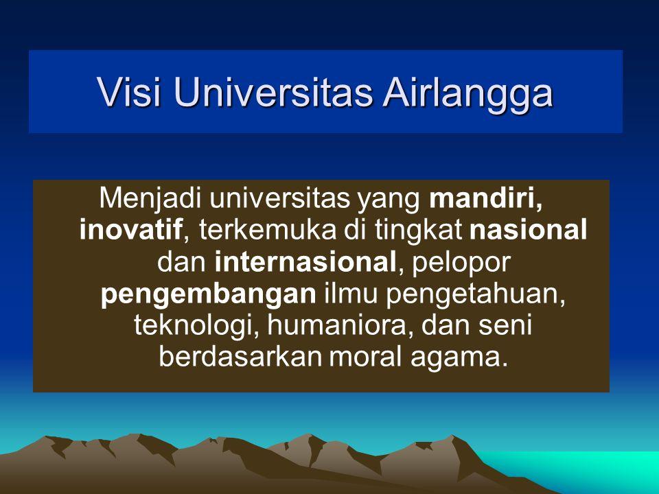 Visi Universitas Airlangga Menjadi universitas yang mandiri, inovatif, terkemuka di tingkat nasional dan internasional, pelopor pengembangan ilmu pengetahuan, teknologi, humaniora, dan seni berdasarkan moral agama.