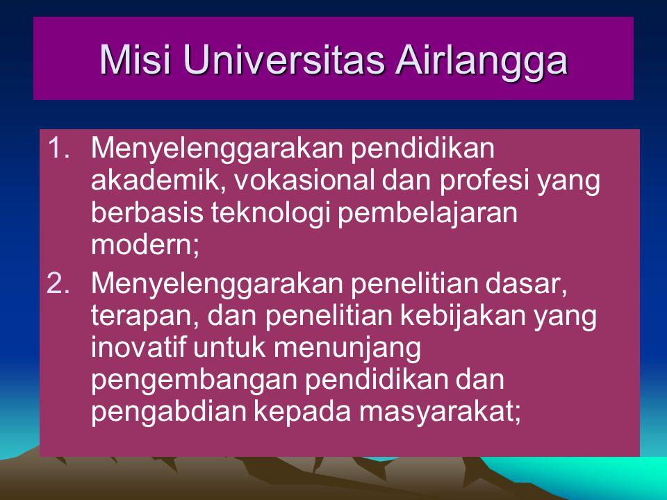 Misi Universitas Airlangga 1.Menyelenggarakan pendidikan akademik, vokasional dan profesi yang berbasis teknologi pembelajaran modern; 2.Menyelenggarakan penelitian dasar, terapan, dan penelitian kebijakan yang inovatif untuk menunjang pengembangan pendidikan dan pengabdian kepada masyarakat;