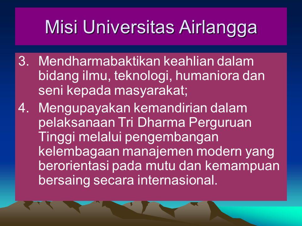 3.Mendharmabaktikan keahlian dalam bidang ilmu, teknologi, humaniora dan seni kepada masyarakat; 4.Mengupayakan kemandirian dalam pelaksanaan Tri Dharma Perguruan Tinggi melalui pengembangan kelembagaan manajemen modern yang berorientasi pada mutu dan kemampuan bersaing secara internasional.
