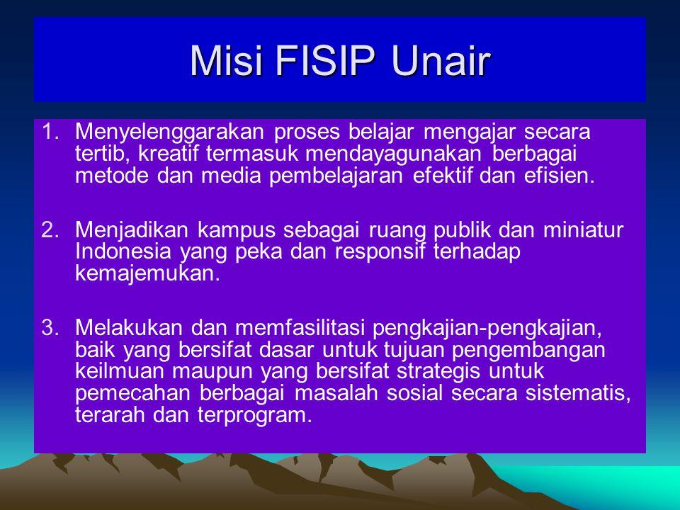 Misi FISIP Unair 1.Menyelenggarakan proses belajar mengajar secara tertib, kreatif termasuk mendayagunakan berbagai metode dan media pembelajaran efektif dan efisien.