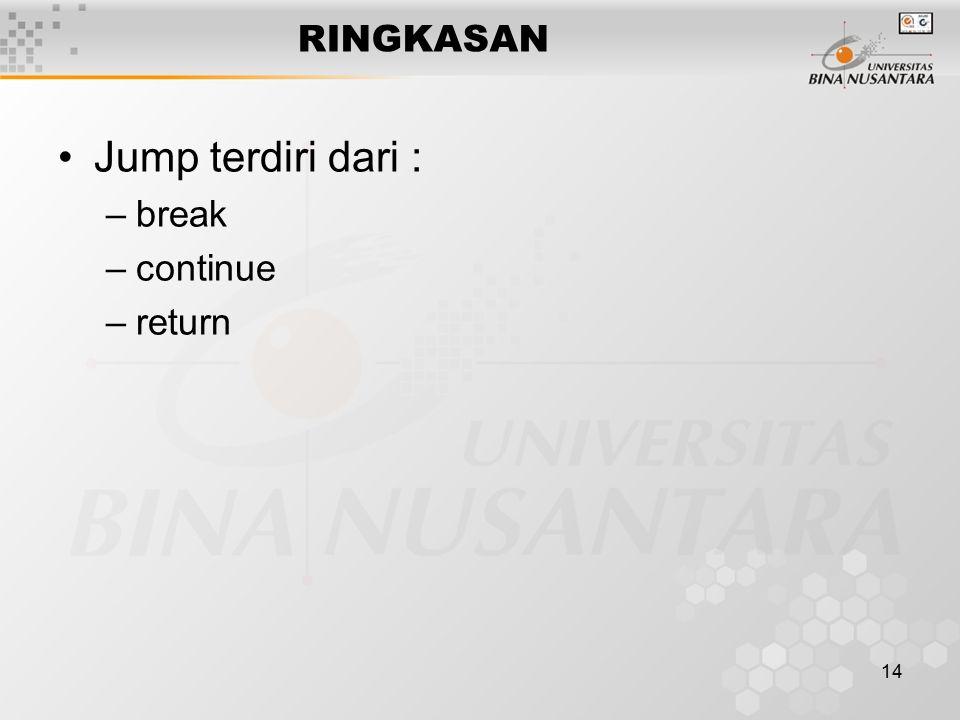 14 RINGKASAN Jump terdiri dari : –break –continue –return