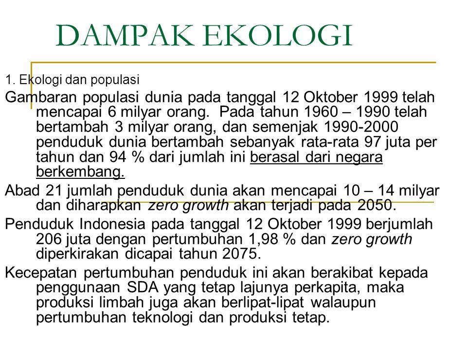 DAMPAK EKOLOGI 1. Ekologi dan populasi Gambaran populasi dunia pada tanggal 12 Oktober 1999 telah mencapai 6 milyar orang. Pada tahun 1960 – 1990 tela