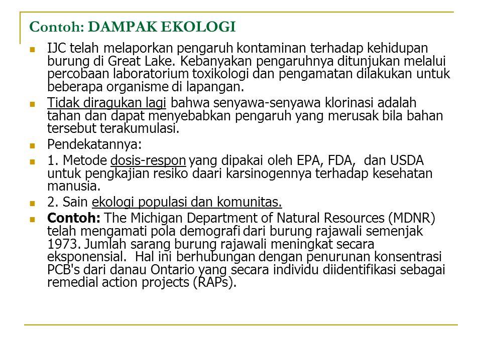 Contoh: DAMPAK EKOLOGI IJC telah melaporkan pengaruh kontaminan terhadap kehidupan burung di Great Lake. Kebanyakan pengaruhnya ditunjukan melalui per