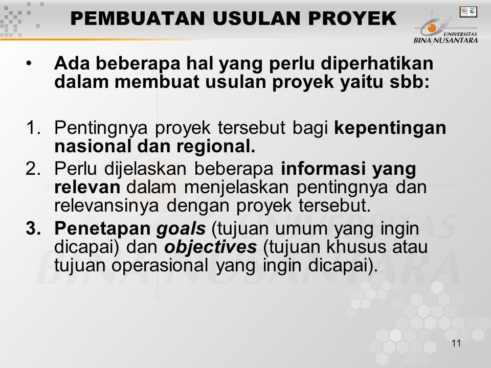 11 PEMBUATAN USULAN PROYEK Ada beberapa hal yang perlu diperhatikan dalam membuat usulan proyek yaitu sbb: 1.Pentingnya proyek tersebut bagi kepenting