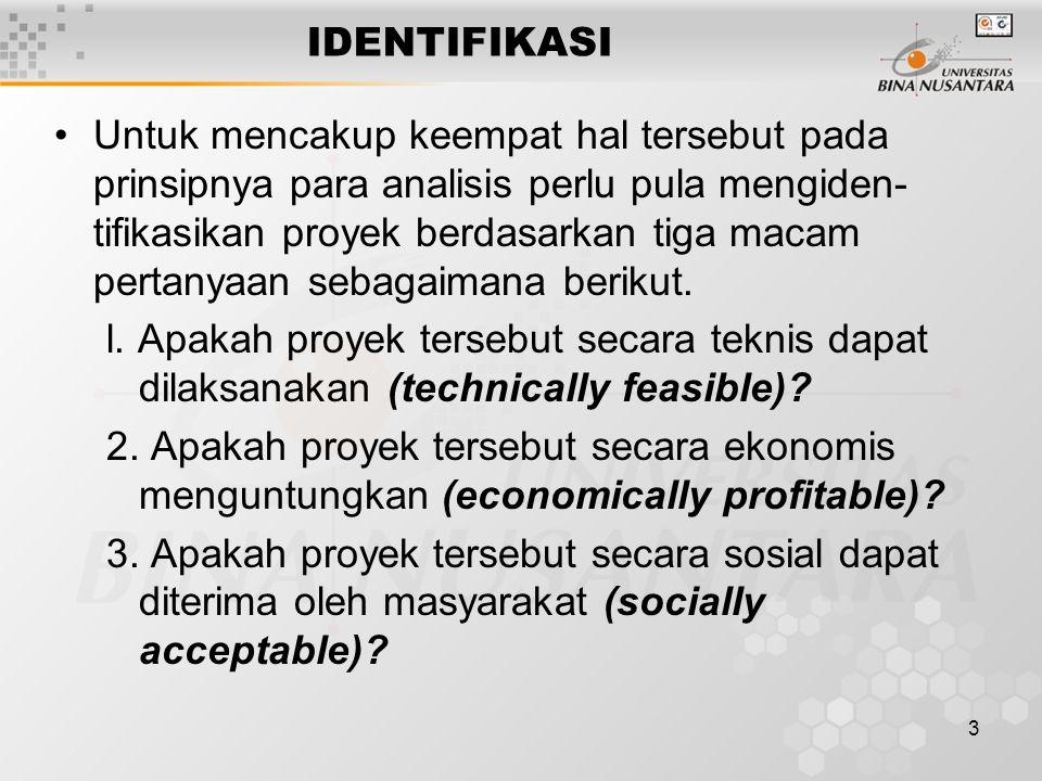 4 IDENTIFIKASI Dalam pelaksanaan suatu proyek terlebih dahulu dilakukan studi awal dalam mengidentifikasi persoalan-persoalan yang perlu dipertimbangakan baik secara teknis, ekonomis, sosial, maupun lingkungan.