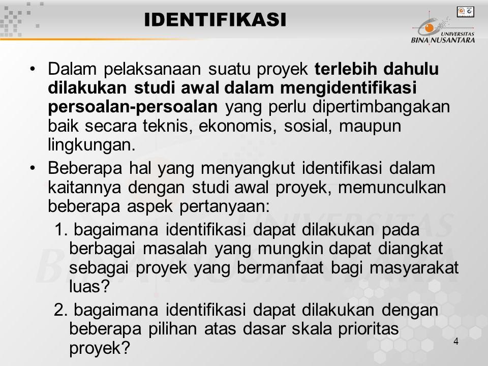 5 Untuk itu perlu diperhatikan dua hal yang menjadi dasar pertimbangan studi awal untuk identifikasi: a.
