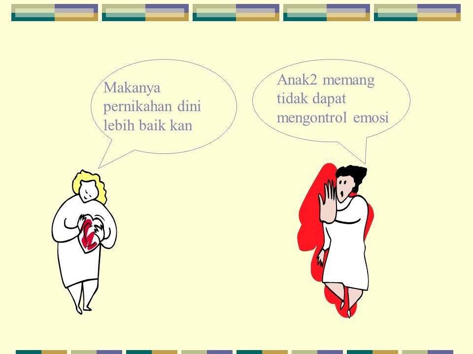 Misalnya: Ibu Ani setuju jika anak menikah pada usia muda (antara 17 – 20 tahun), sedangkan Ibu Ina berpendapat usia yang baik untuk menikah adalah diatas 25 tahun..
