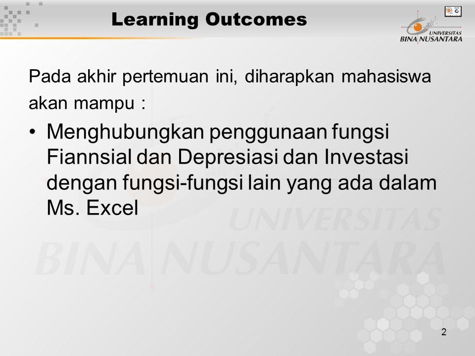 2 Learning Outcomes Pada akhir pertemuan ini, diharapkan mahasiswa akan mampu : Menghubungkan penggunaan fungsi Fiannsial dan Depresiasi dan Investasi